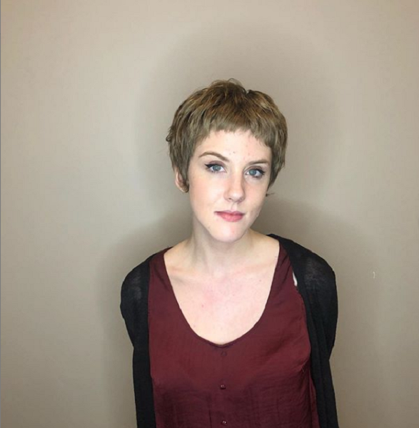 Bowl-Like Wavy Pixie Cut with Baby Bangs