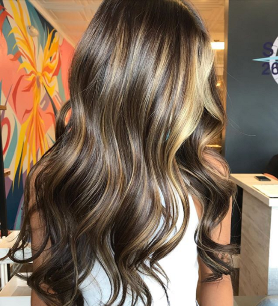 Chocolate Brown Shade with Blonde Middle-Parted Bangs