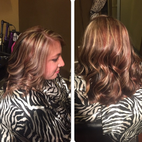 Chocolate Brown Shade with Blonde and Reddish Highlights