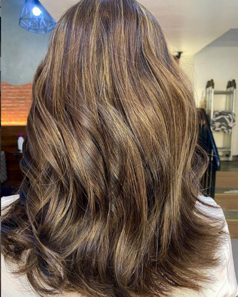 Chocolate Brown Shade with Thin Blonde Highlights