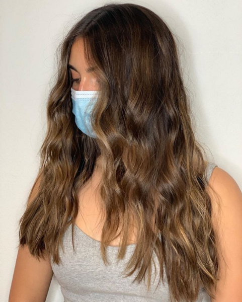 Chocolate Middle-Parted Layered Haircut with Small Waves