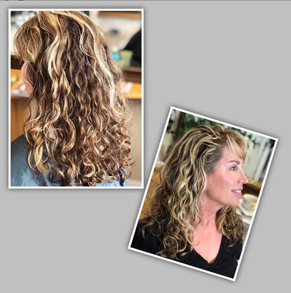 Curly Layered Haircut with Side Bangs