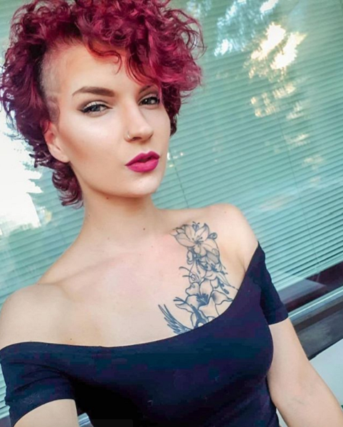 Curly Pixie with Side Shave and Side Bangs