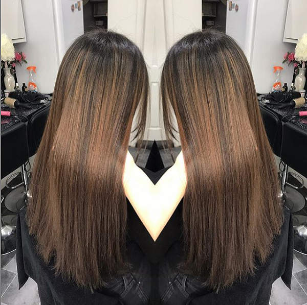 Light Chocolate Brown Shade with Darker Roots