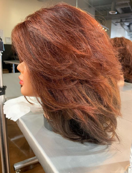 Middle-Parted Red Voluminous Layered Haircut