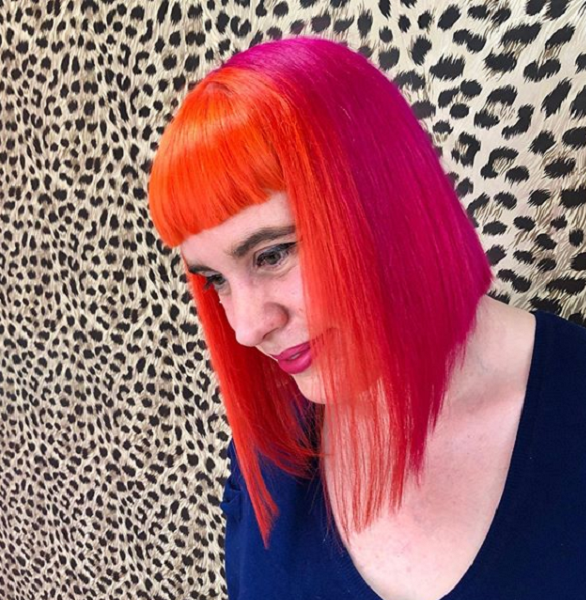 Multicolored Medium Straight Haircut with Baby Blunt Bangs