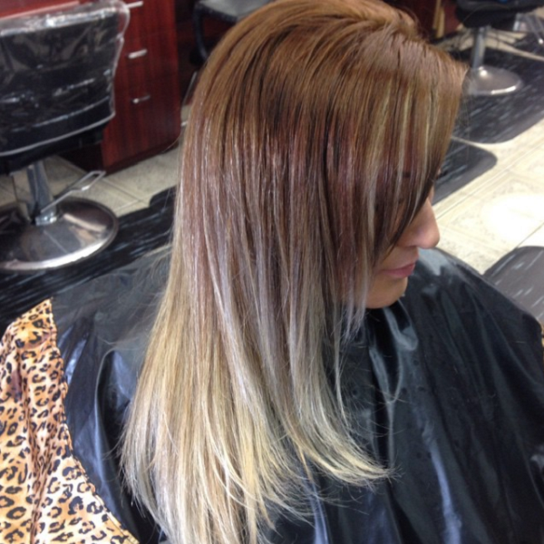Ombre Chocolate Brown Shade with Blonde Ends