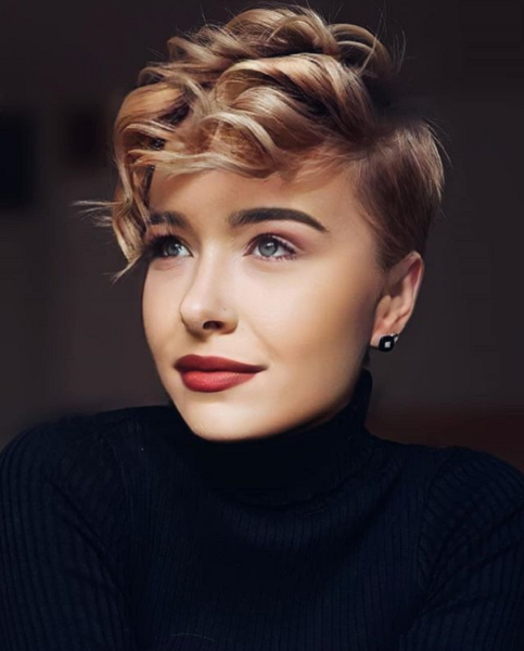 Pixie Cut with Curly Up Top Area
