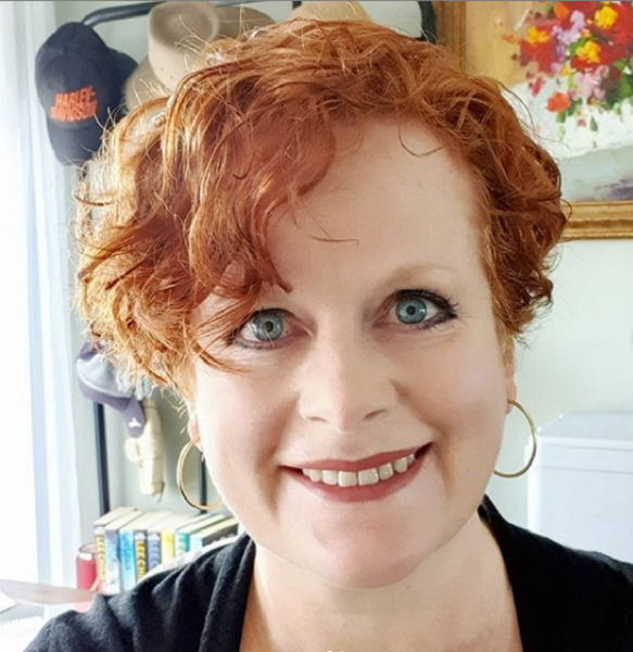 Red Wavy Pixie with Longer Side Bangs