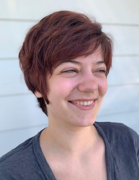 Side-Parted Classical Looking Wavy Pixie Cut