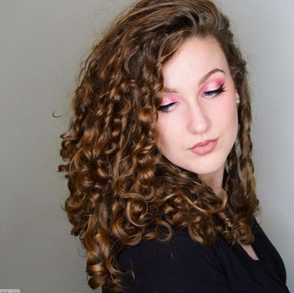 Side-Parted Curly Layered Haircut
