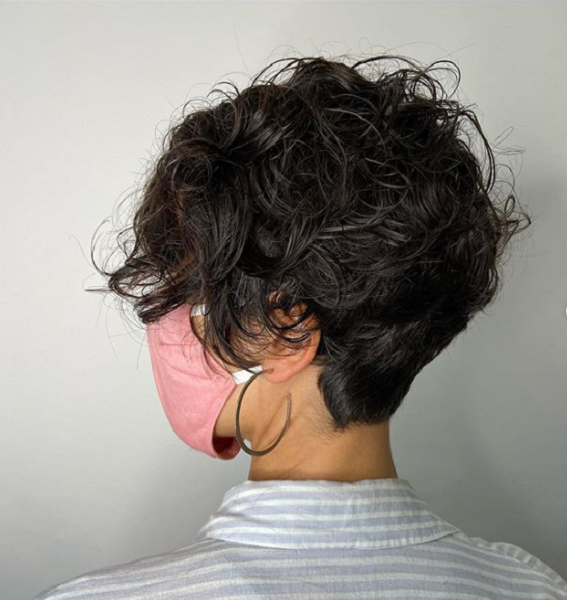 Side-Parted Wavy Pixie with Short Nape Area