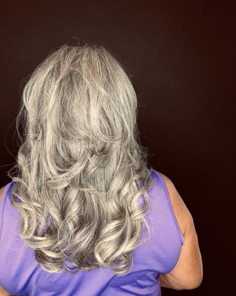 Silver Curly Layered Haircut
