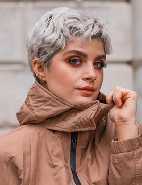 Silver Wavy Pixie with Side Bangs
