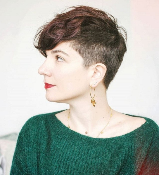 Wavy Pixie Cut with Short Side and Nape Areas