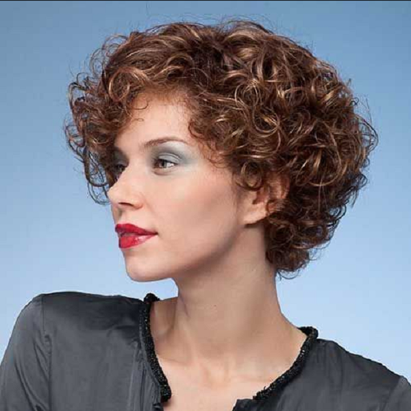 Curly Side-Parted Wedge Hairstyle