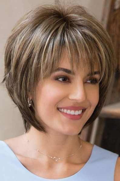 Layered & Spiky Straight Hairstyle with Long Bangs
