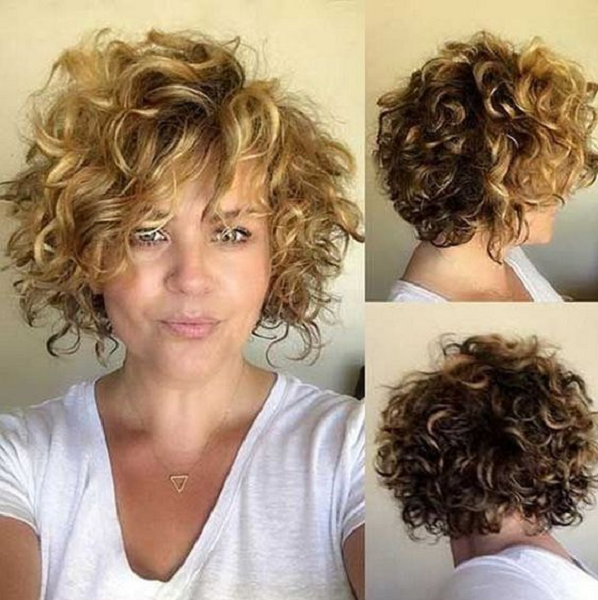 Messy Curly Hairstyle with Side-Parted Bangs