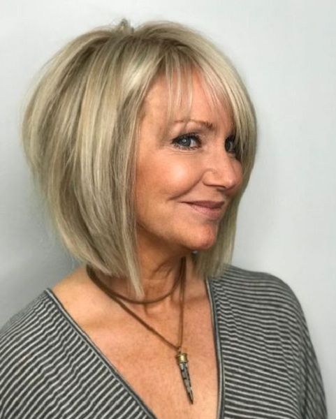 Straight Asymmetrical Bob Cut with Thin Bangs
