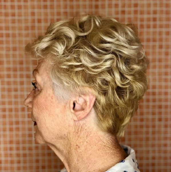 Blonde Pixie Cut with Defined Waves