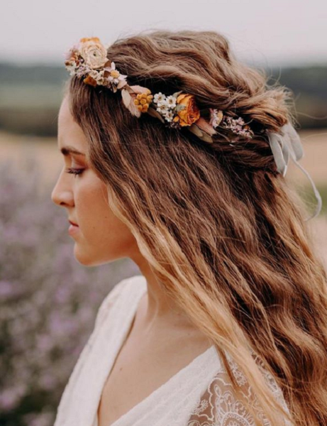 Bohemian Wavy Hairstyle with Flower Crown