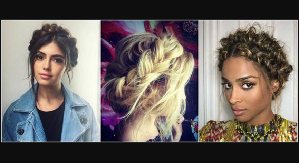Braided Halo Messy Up Dos (3 styles)