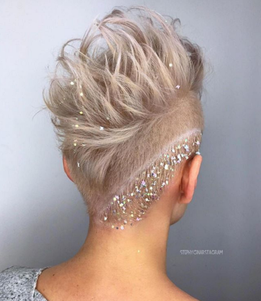 Bridal Pixie Cut with Accessories and Side Pattern
