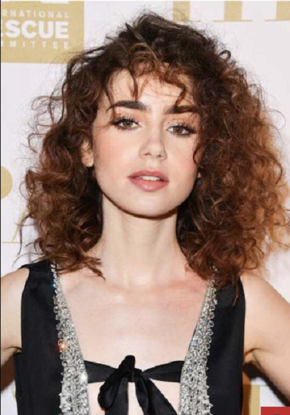 Curly Side-Parted Medium-Length Layered Hairstyle