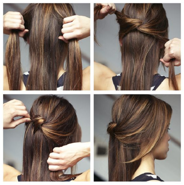 Formal Knotted Half Up Half Down Straight Hairstyle