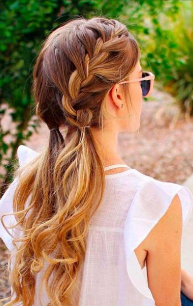 Formal Low Braided Ponytails