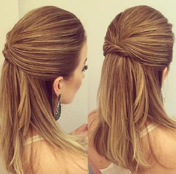 Formal Straight Twisted Half Up Half Down Hairstyle