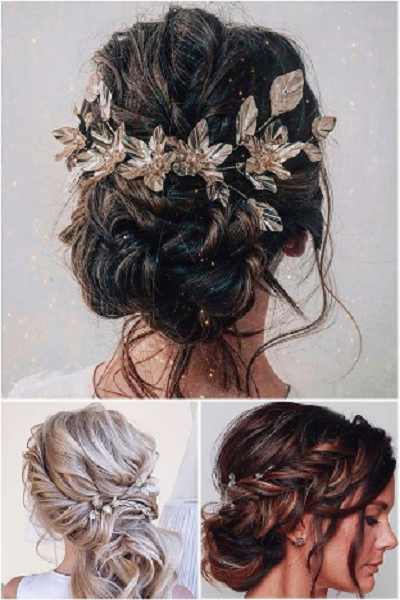 Goddess-Inspired Low & Short Bridal Updos with Accessories (3 styles)