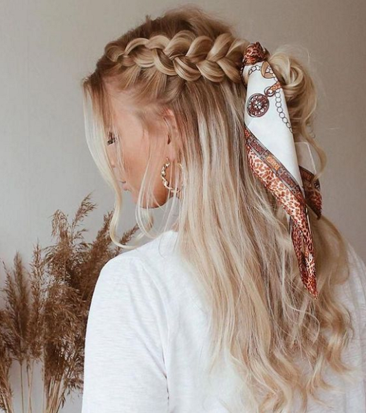 Half Up Half Down Hairstyle with Braided Sides and Headscarf