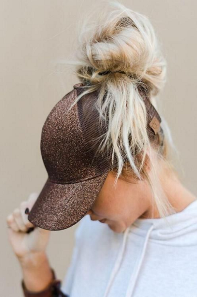 High Blonde Messy Up Do with Cap