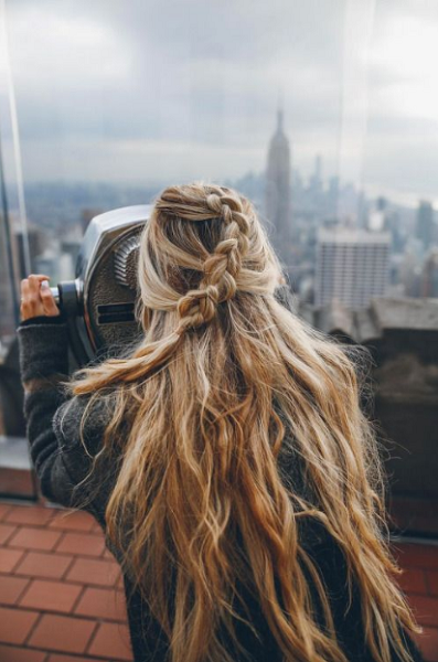 Long Messy Hair with Loose Braid