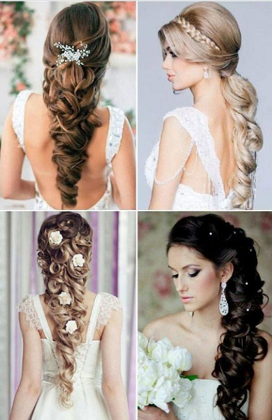 Long Wavy Bridal Hairstyles & Updos with Accessories (4 styles)