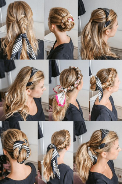 Long Wavy Hair Up Dos with Headscarf (9 styles)