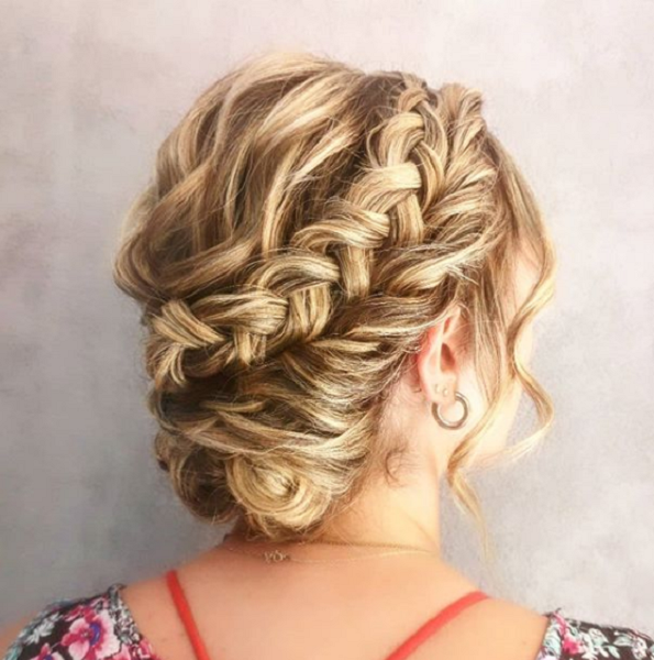 Low Messy Bun with Braided Crown