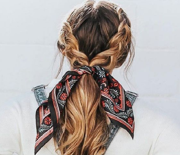 Low Ponytail with Braided Sides and Headscarf
