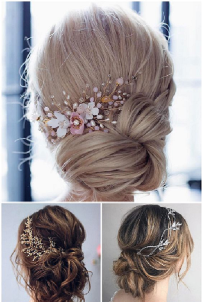 Low Twisted Short Bridal Updos with Delicate Accessories (3 styles)