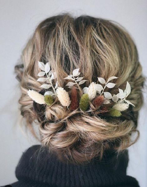 Messy Bridal Low Bun with Accessories