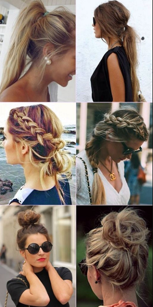 Messy Ponytail, Braided Hairstyle, and High Bun (6 styles)