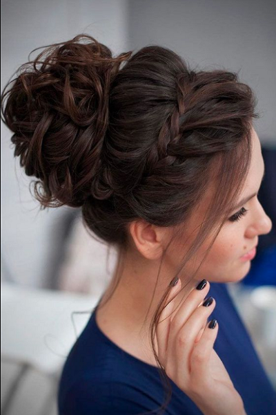 Messy Up Do with Elegant Braided Crown