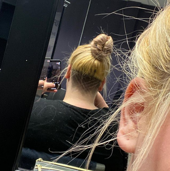 Messy Up Do with Nape Undercut