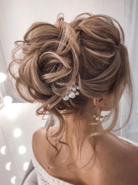 Messy Up Do with Pearls