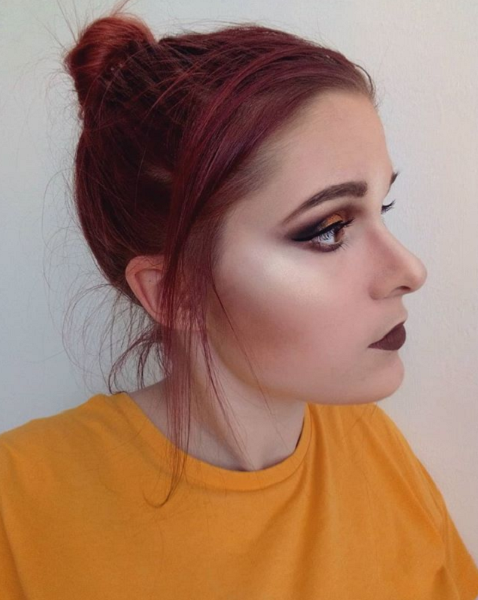 Messy Up Do with Side-Parted Thin Bangs