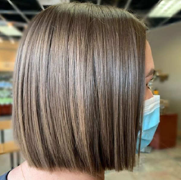 Middle-Parted Straight Bob Cut