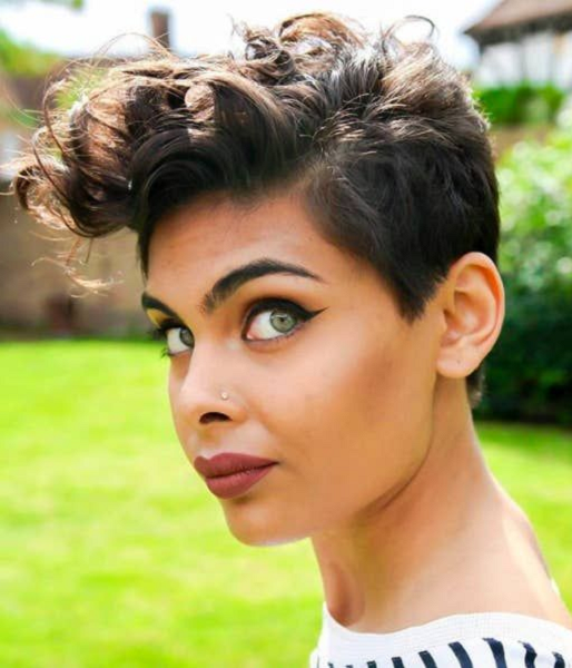 Pompadour-Like Curly Pixie Cut with Short Sides