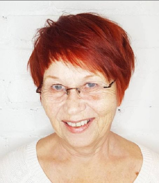 Razor Cut Red Pixie with Asymmetrical Baby Bangs