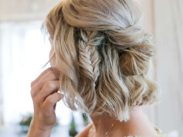 Short Half Up Half Down Bridal Hairstyle with Side Fishtail Braid